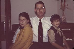 Left to right,  Sarah Steinberg, Ted Steinberg, Beth Steinberg, 1972.